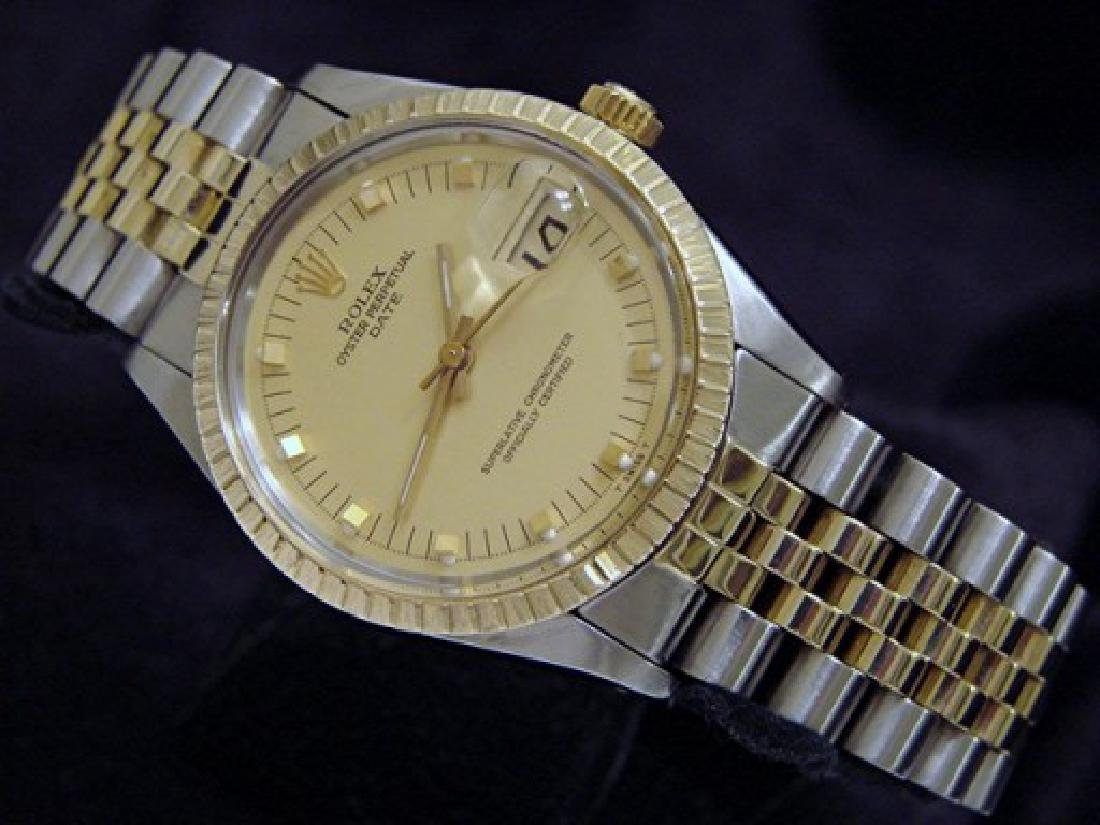 Mens Rolex Two-Tone 14K/SS Date Champagne 1505