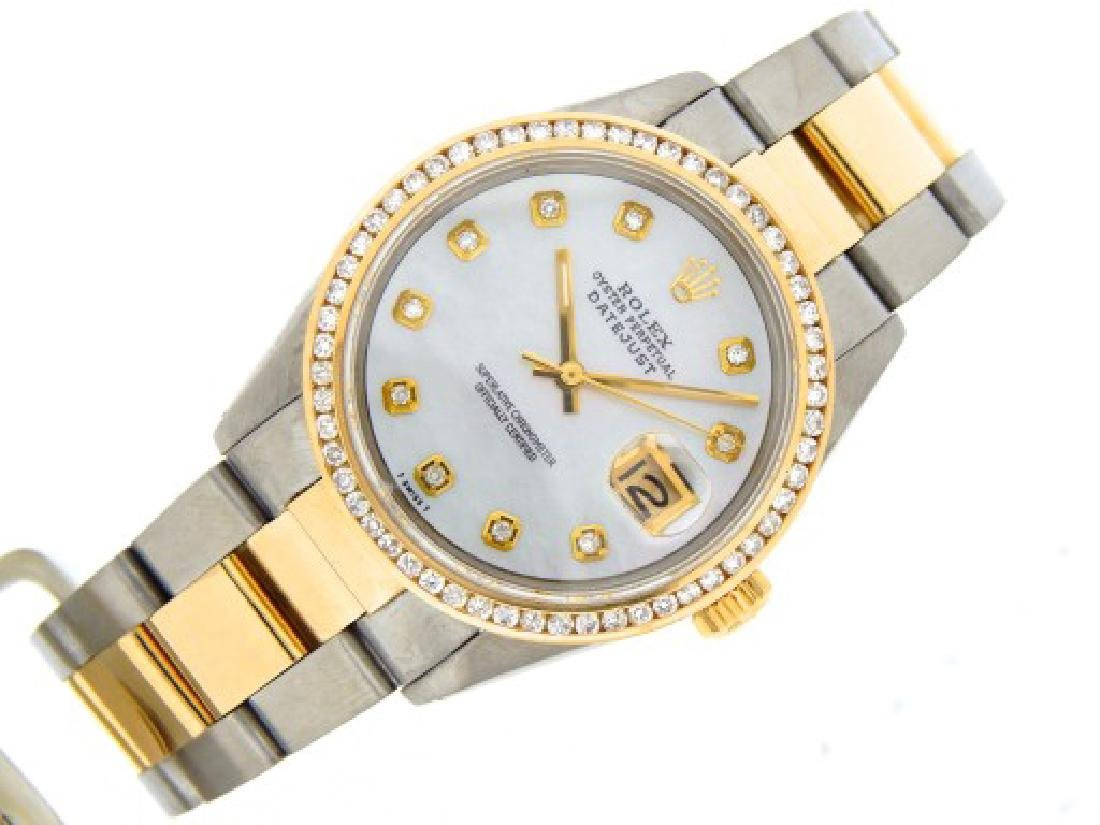 Mens Rolex Two-Tone 18K/SS Datejust White MOP Diamond