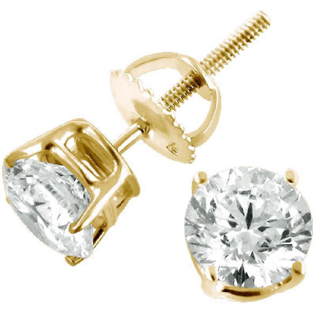 STUNNING 2 TCW. Diamond Stud Earrings - YG Mount