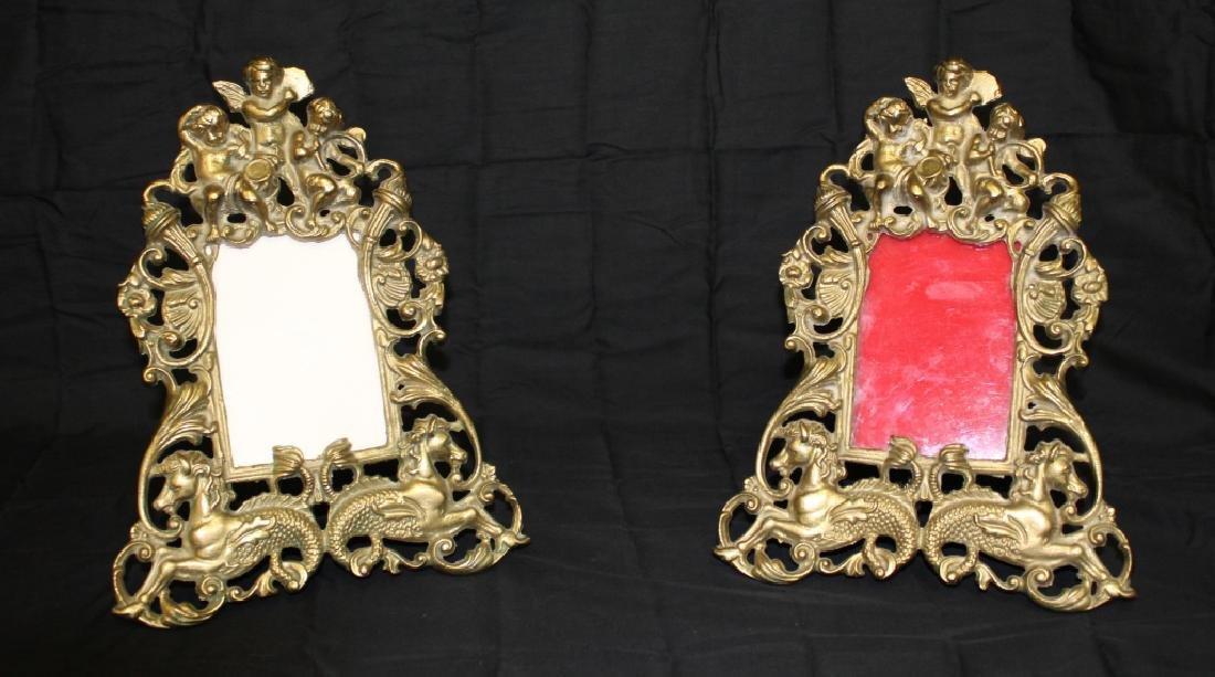 PR. Of Brass Cherub Figural Picture Frames -