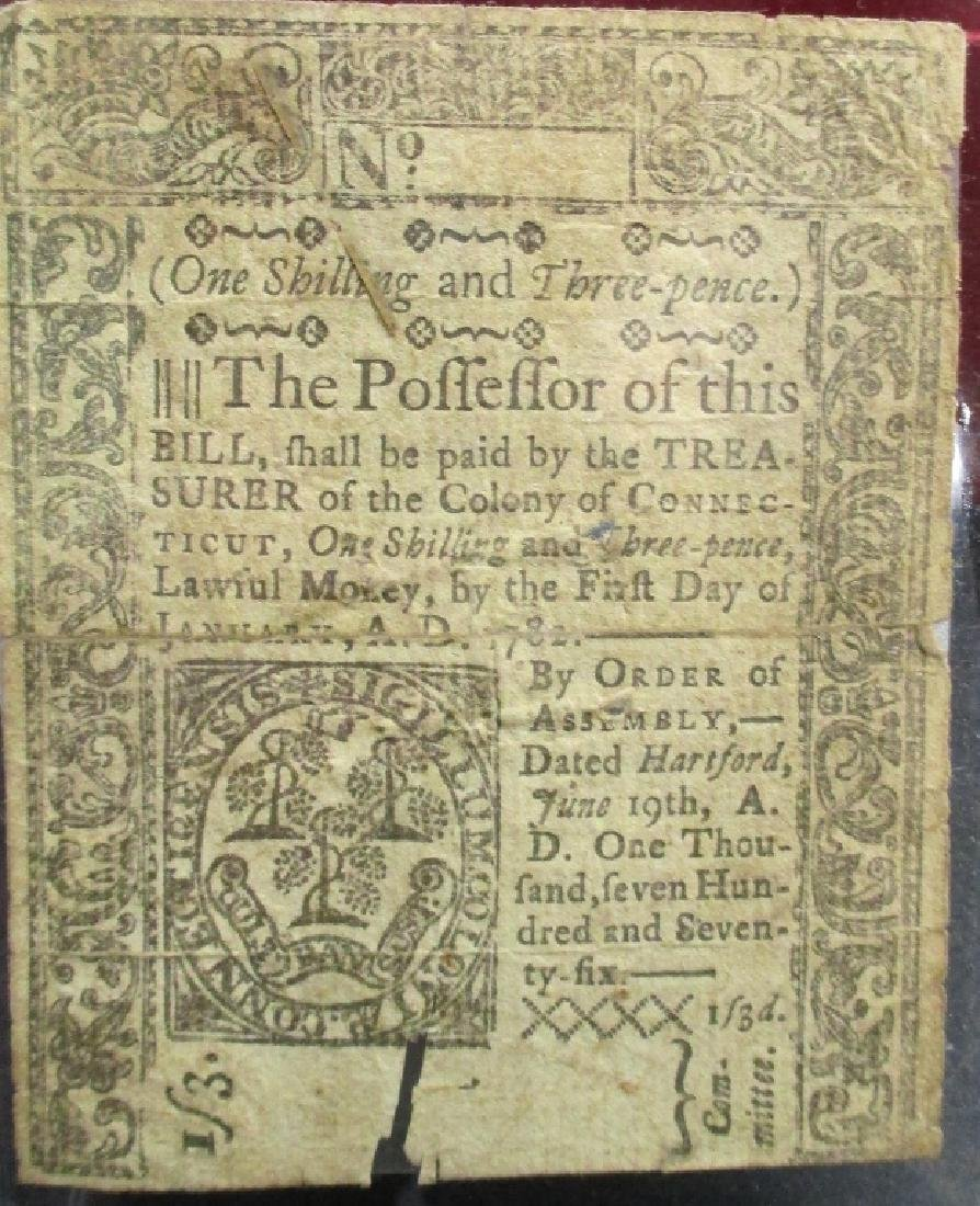 1 Shilling 3 Pence Colonial Note - 1782 - As Found