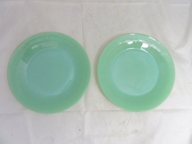 Lot of 2 9 inch Jadeite Dinner Plates