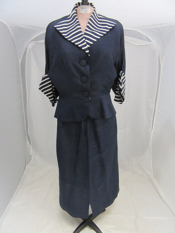 1930's/1940's Striped Collared Blazer with Matching