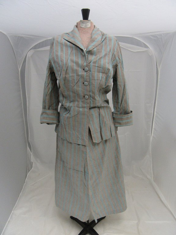 1930's/1940's Gray and Blue Striped Blazer with Skirt