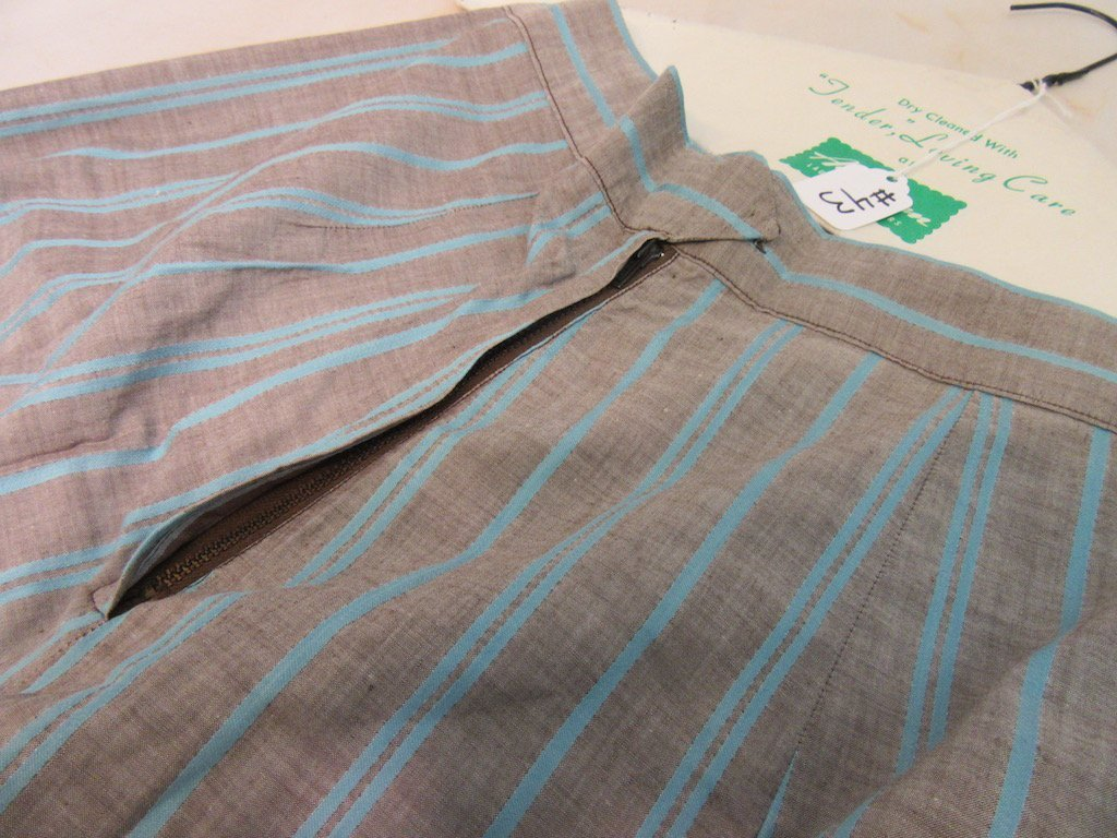 1930's/1940's Gray and Blue Striped Blazer with Skirt - 2