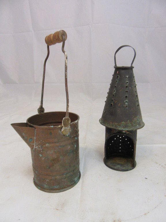 Primitive Hole Punched Candle Holder and Copper Pitcher