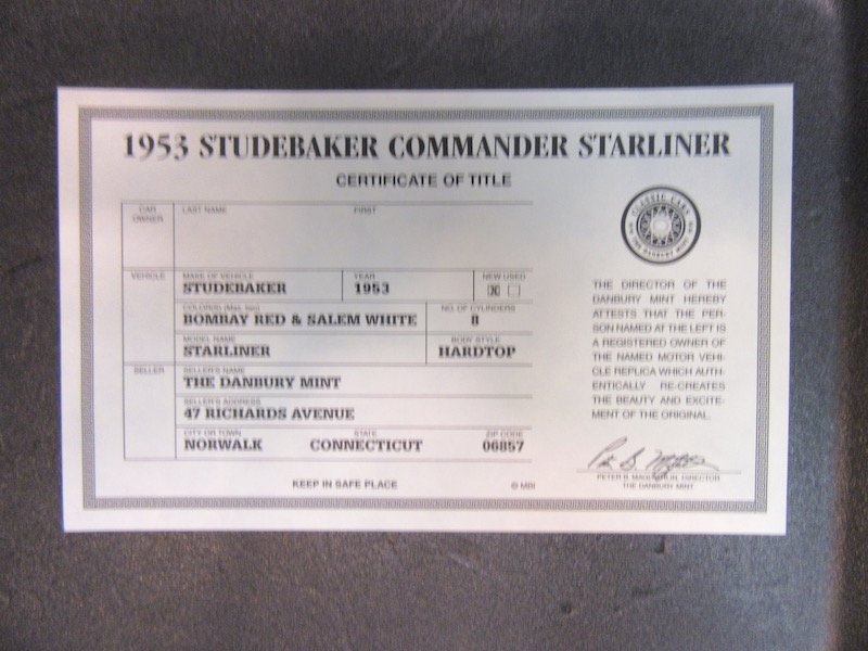 Danbury Mint 1953 Studebaker Commander Starliner - 2
