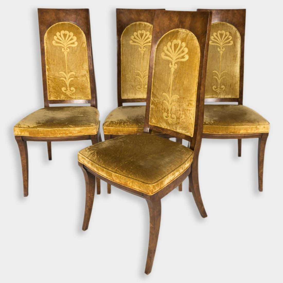 Four Mastercraft Burl Dining Chairs