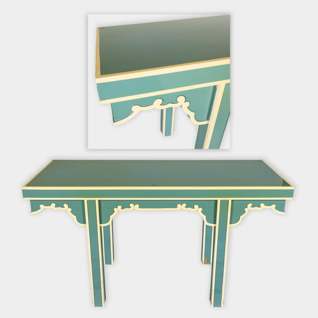 Tiffany Blue Lacquered Console Table