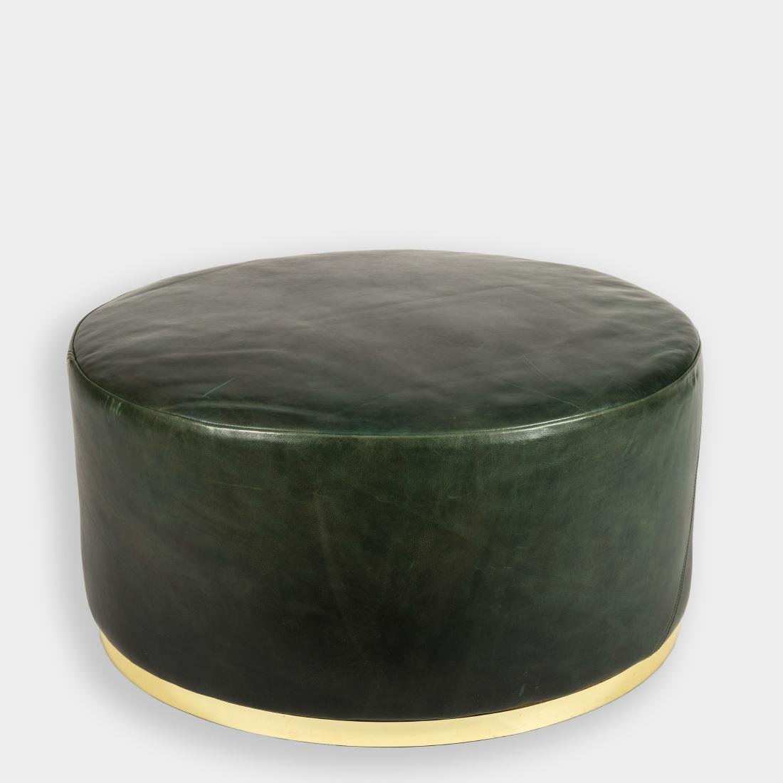 Large Leather and Brass Leather Ottoman