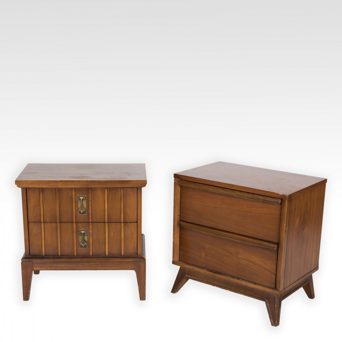 Two Mid Century Walnut Nightstands - Unagusta