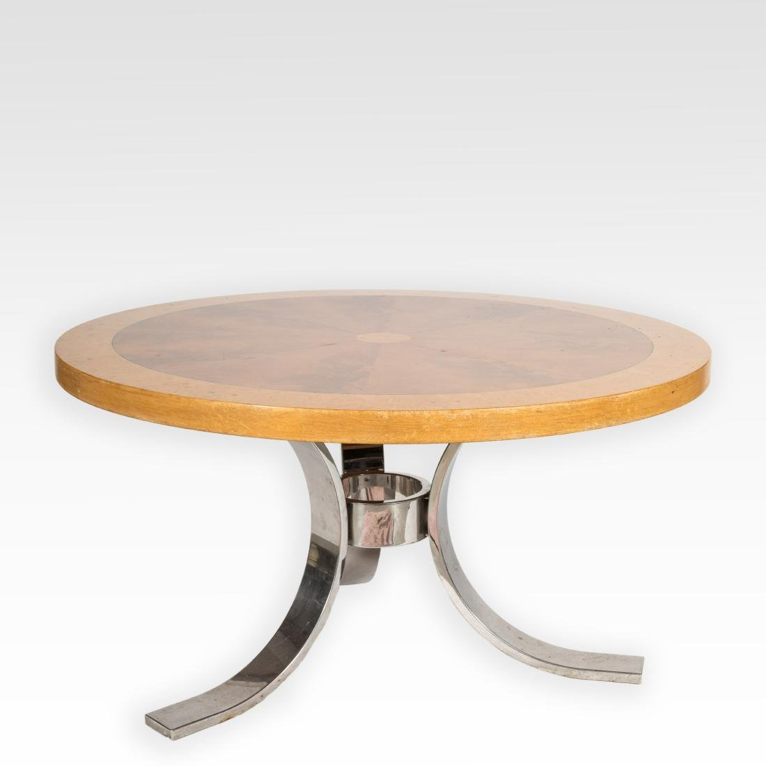Mid Century Chrome Center Table with Inlaid Top
