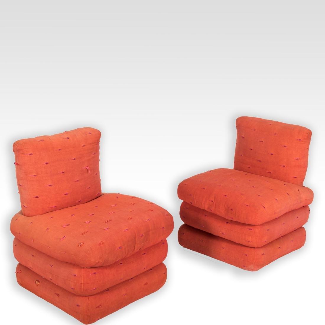 Pair Mid Century Slipper Chairs
