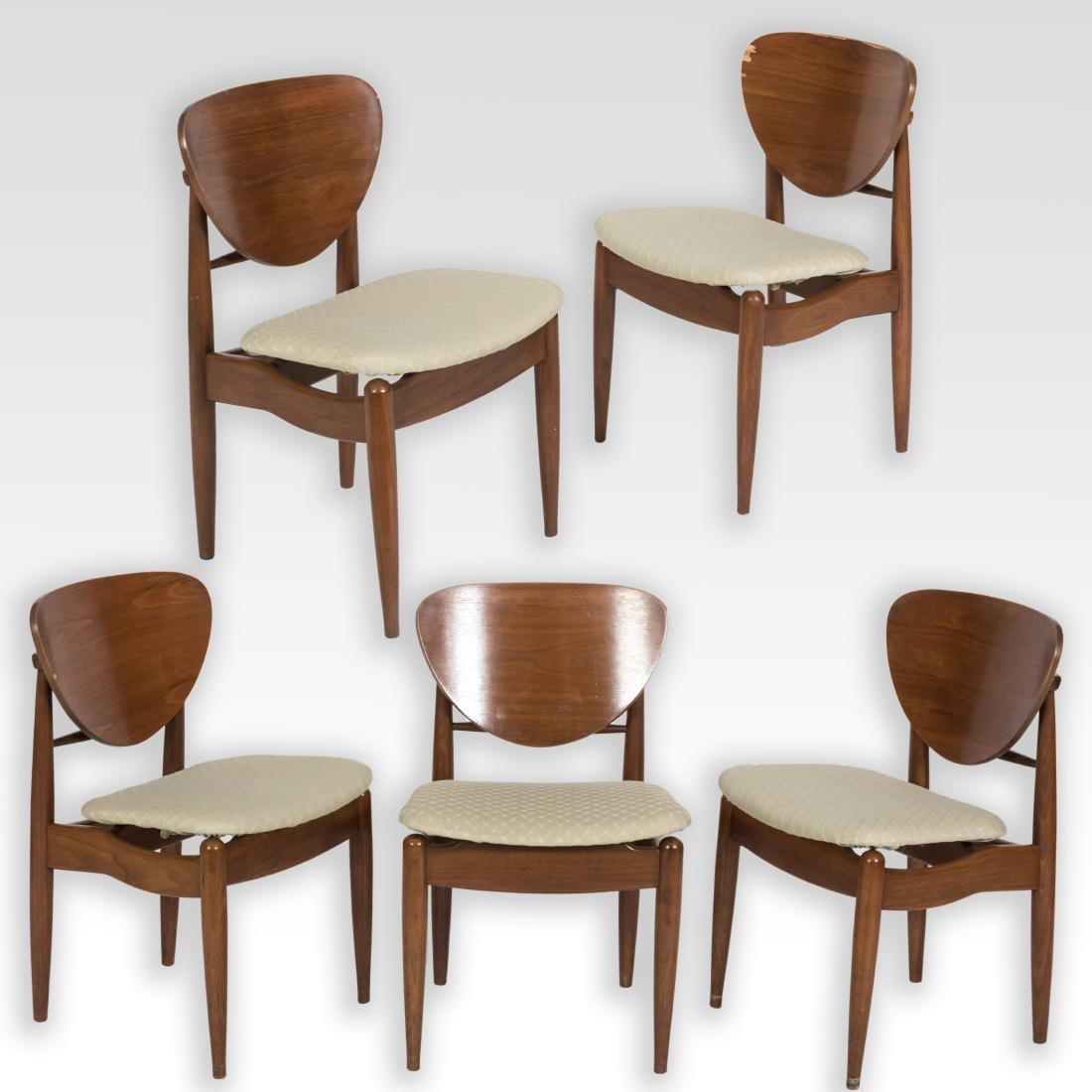 Set of Five John Stuart Walnut Dining Room Chairs : Lot 0023