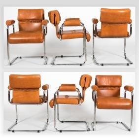 Set of Six Mariani Italian Chrome & Leather Chairs