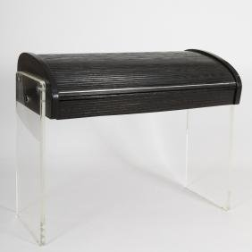 Kagan Ebonized Wood & Lucite Roll Top Desk -Signed