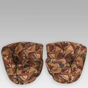 Pair Vladimir Kagan Nautilus Chairs For Weiman