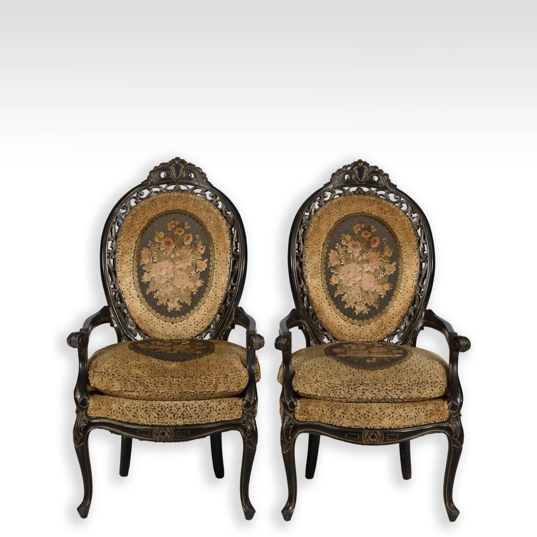 Pair Ebonized Arm Chairs