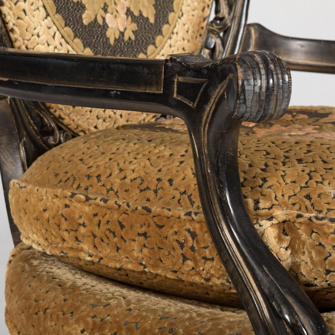 Pair Ebonized Arm Chairs - 4