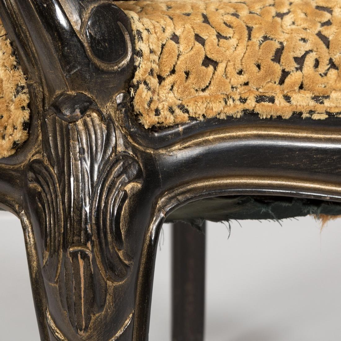 Pair Ebonized Arm Chairs - 5