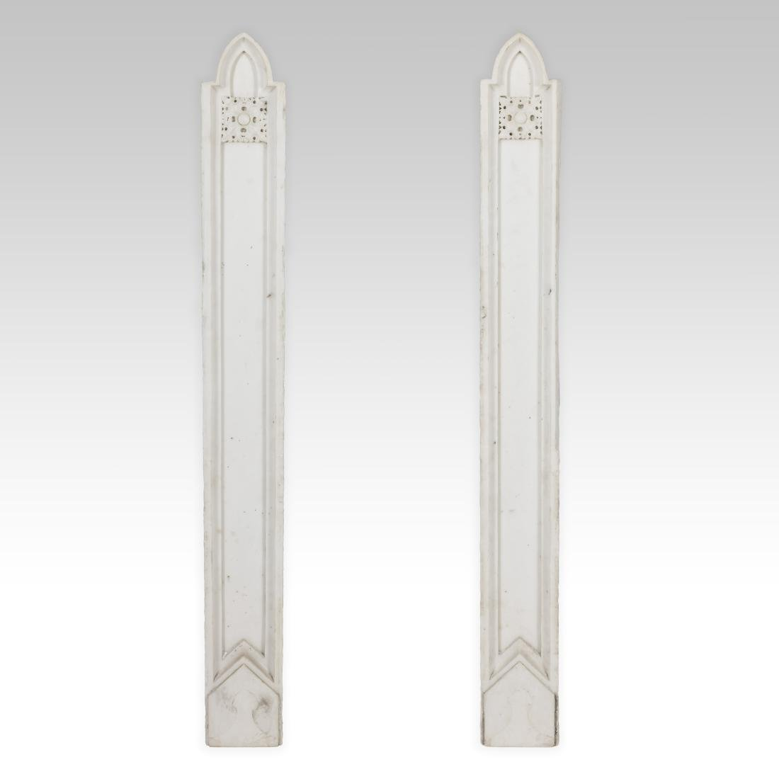 Pair Carved Marble Flat Columns