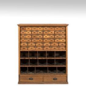 Oak Multi-Drawer Postal Filing Cabinet