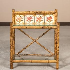 Bamboo and Tile Umbrella Stand