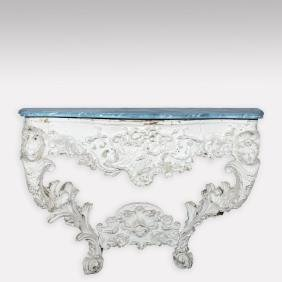 Victorian Console Table with Faux Marble Top