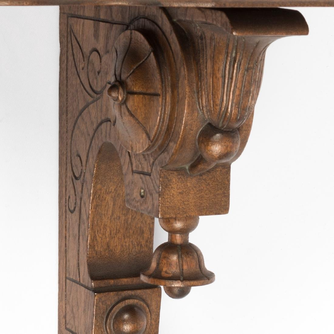 Pair Victorian Walnut Carved Shelves - 4