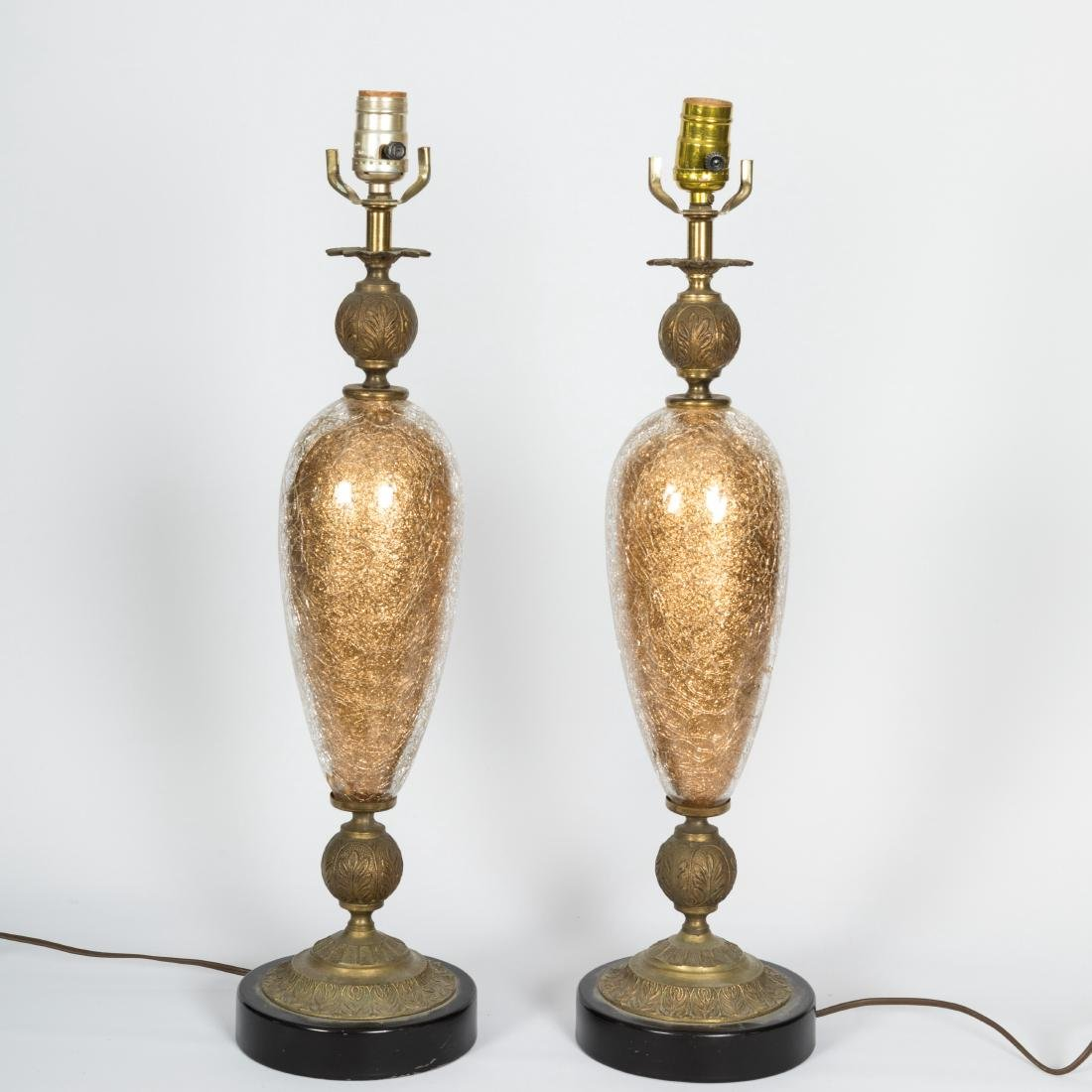 Pair Cased Glass & Brass Lamps