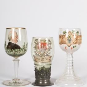 Three Enameled German Chalices