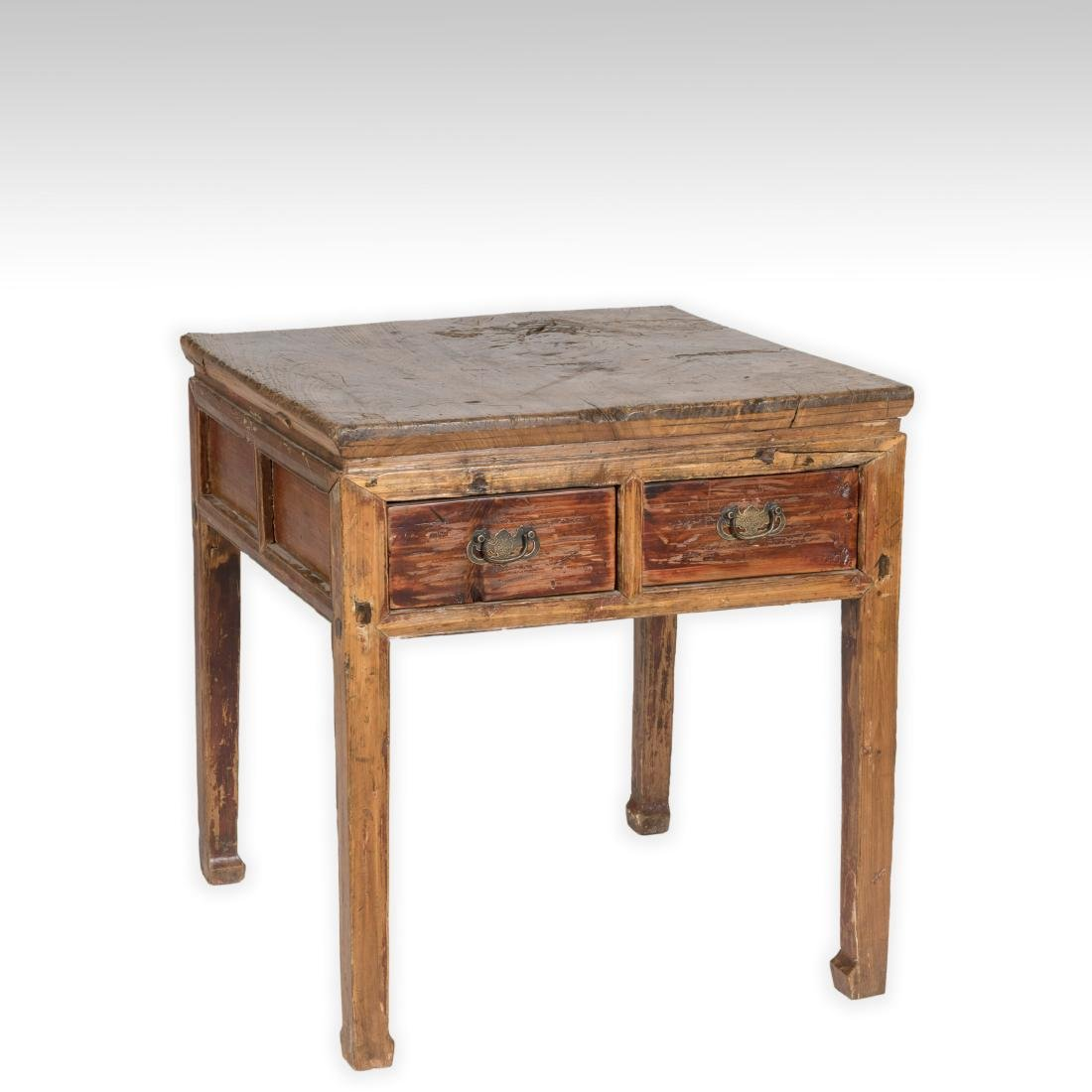 Chinese Butcher Block Two Drawer Table