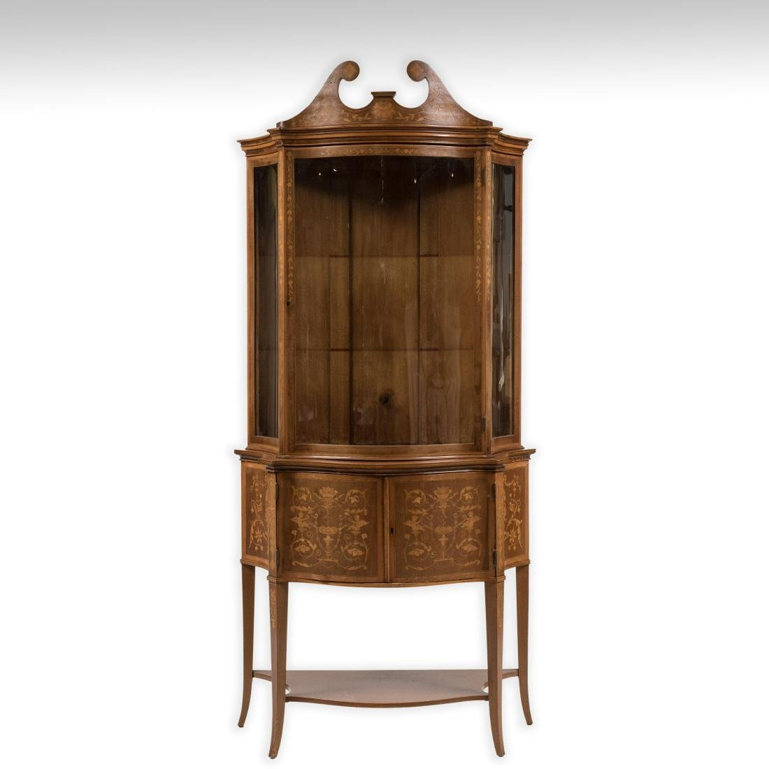 Two Part Marquetry Curio Cabinet