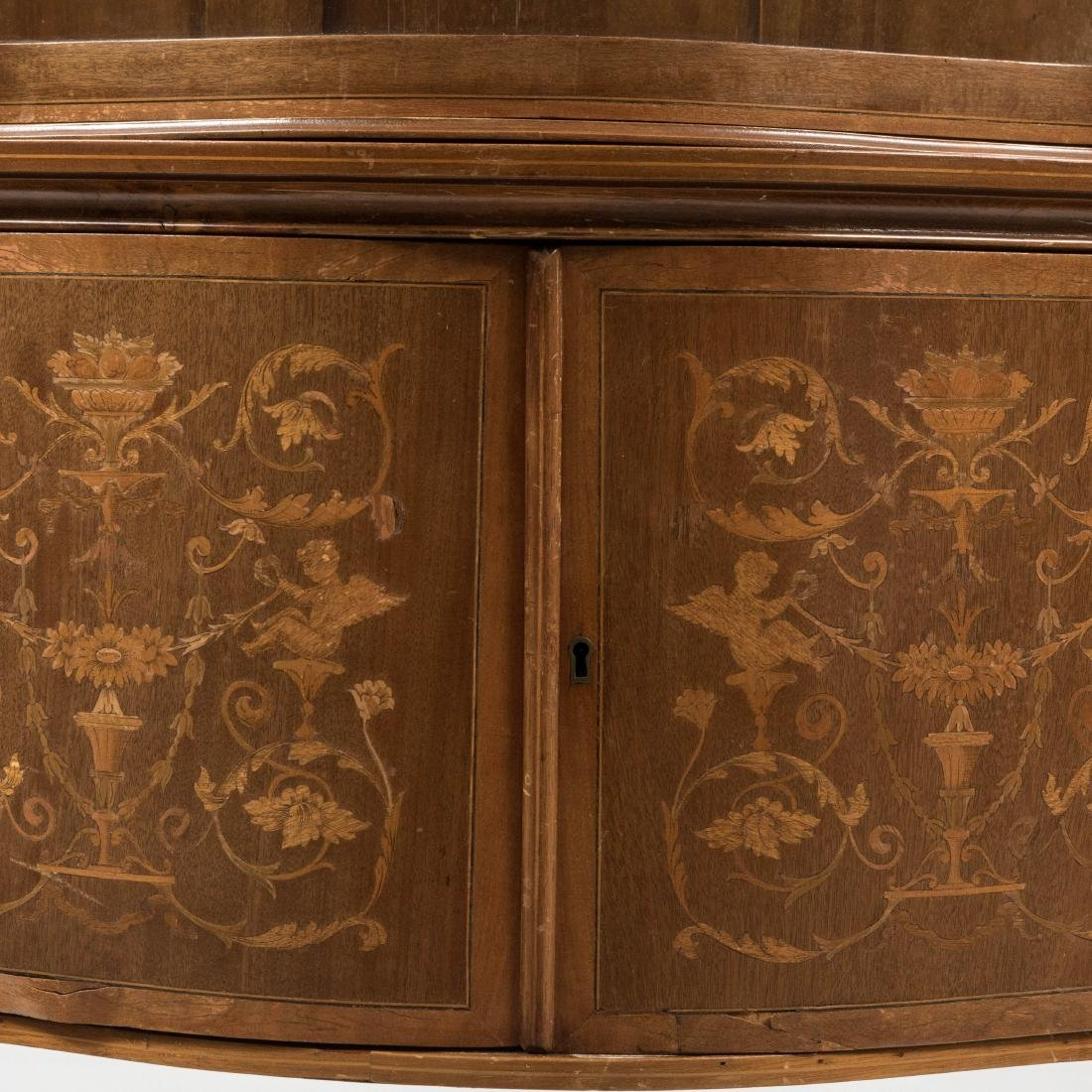 Two Part Marquetry Curio Cabinet - 3