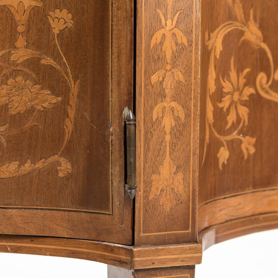 Two Part Marquetry Curio Cabinet - 4