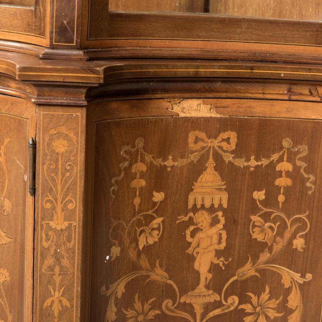 Two Part Marquetry Curio Cabinet - 6