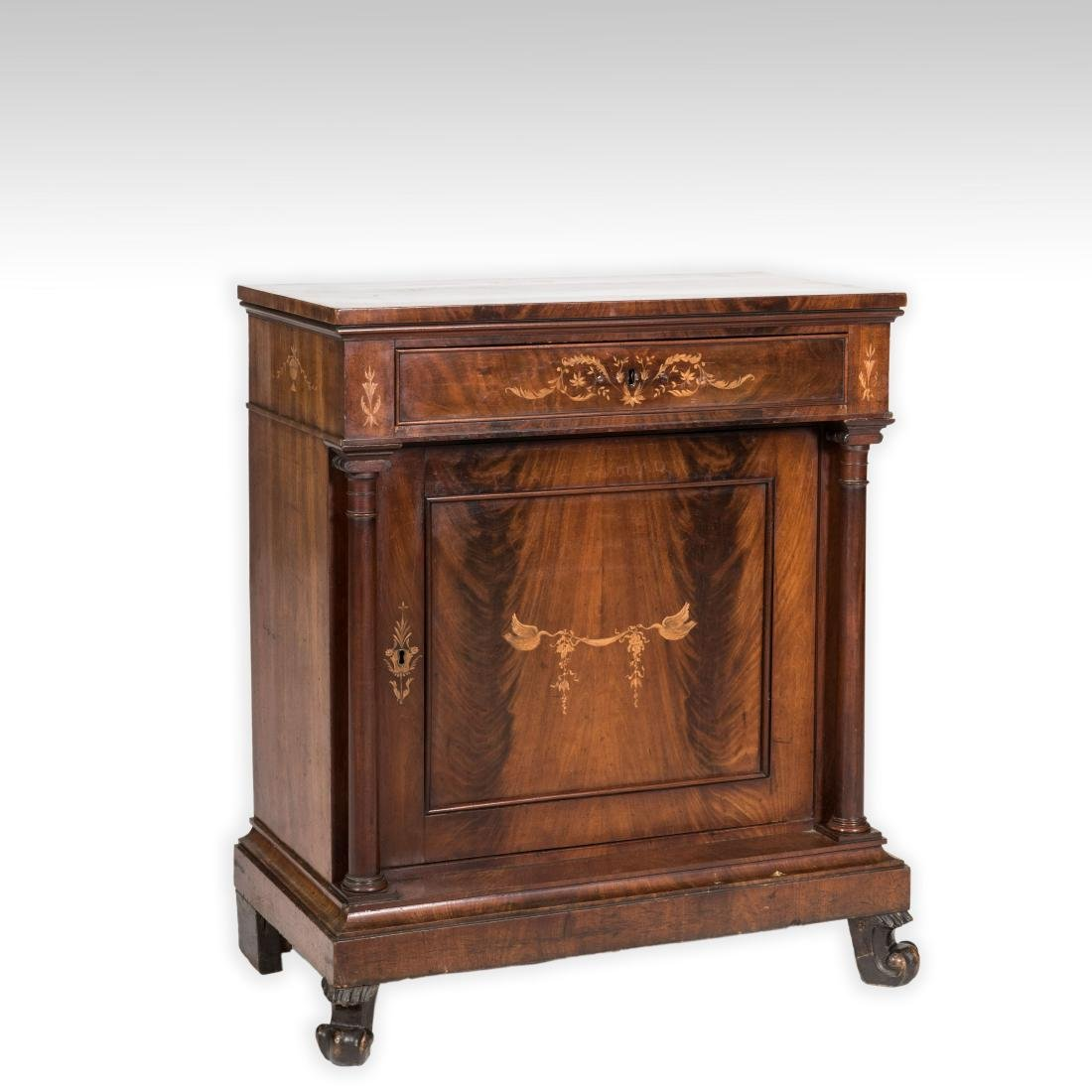 Inlaid Mahogany Antique Cabinet