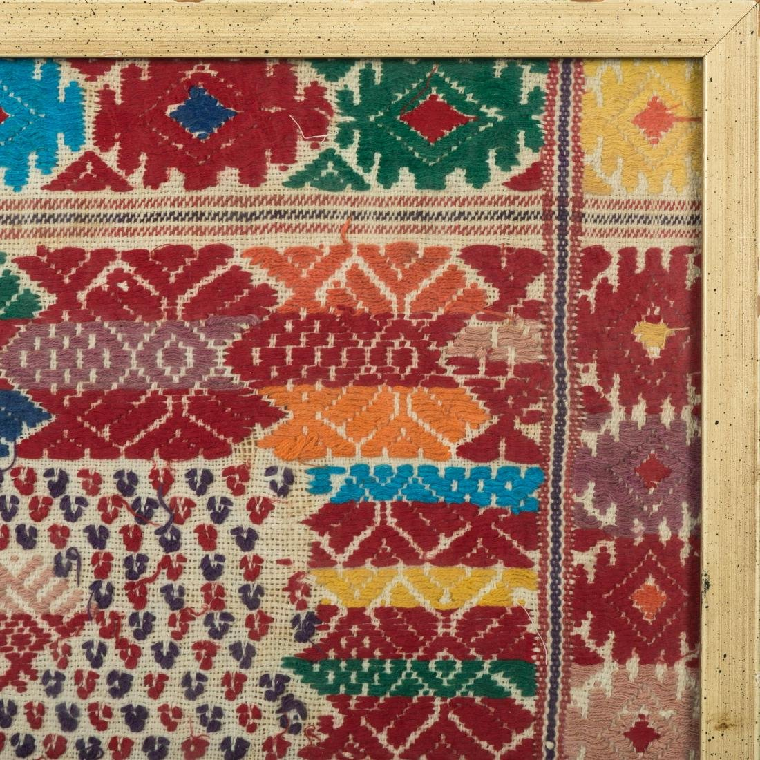 """Framed Needlework Sampler - """"Rows of Birds"""" - 3"""