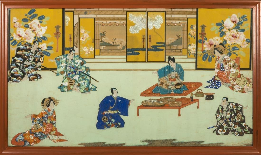 Large Japanese Gouache - Family Scene