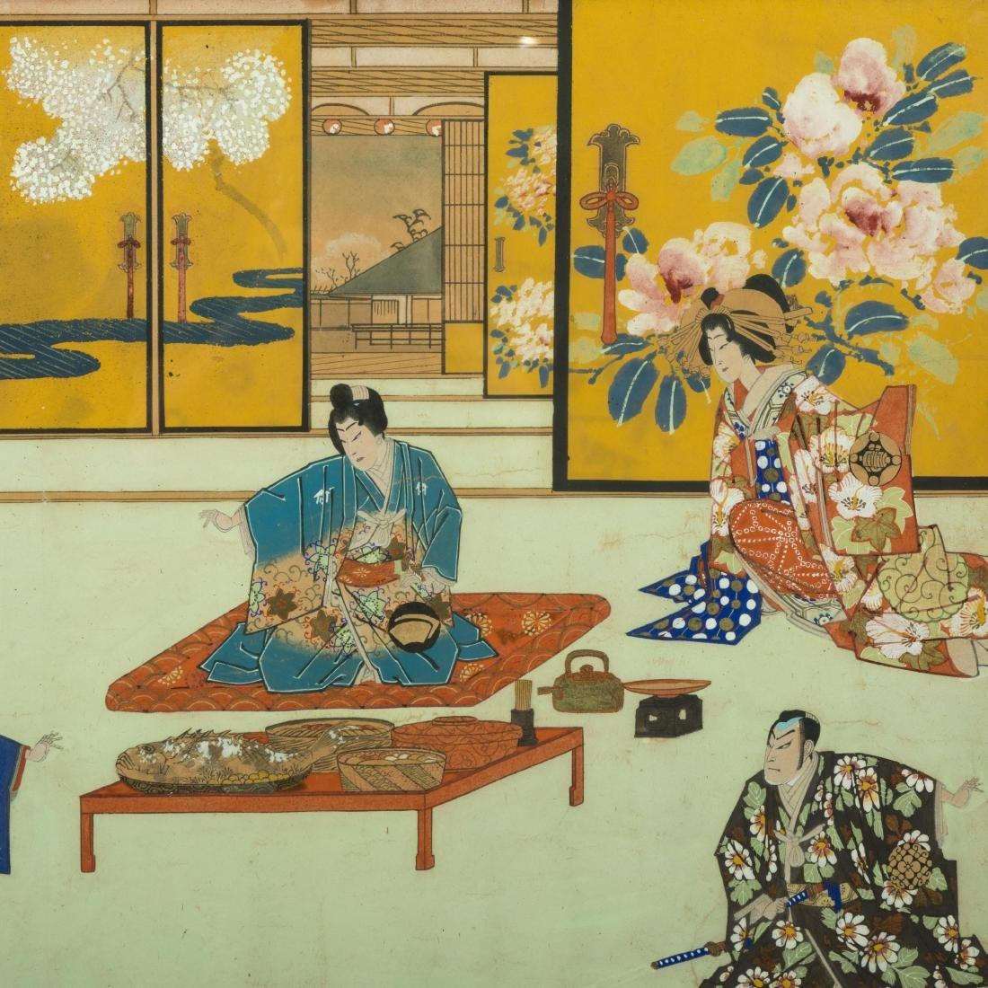Large Japanese Gouache - Family Scene - 2
