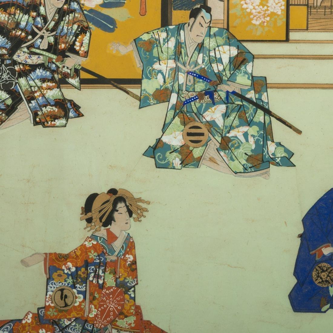 Large Japanese Gouache - Family Scene - 3