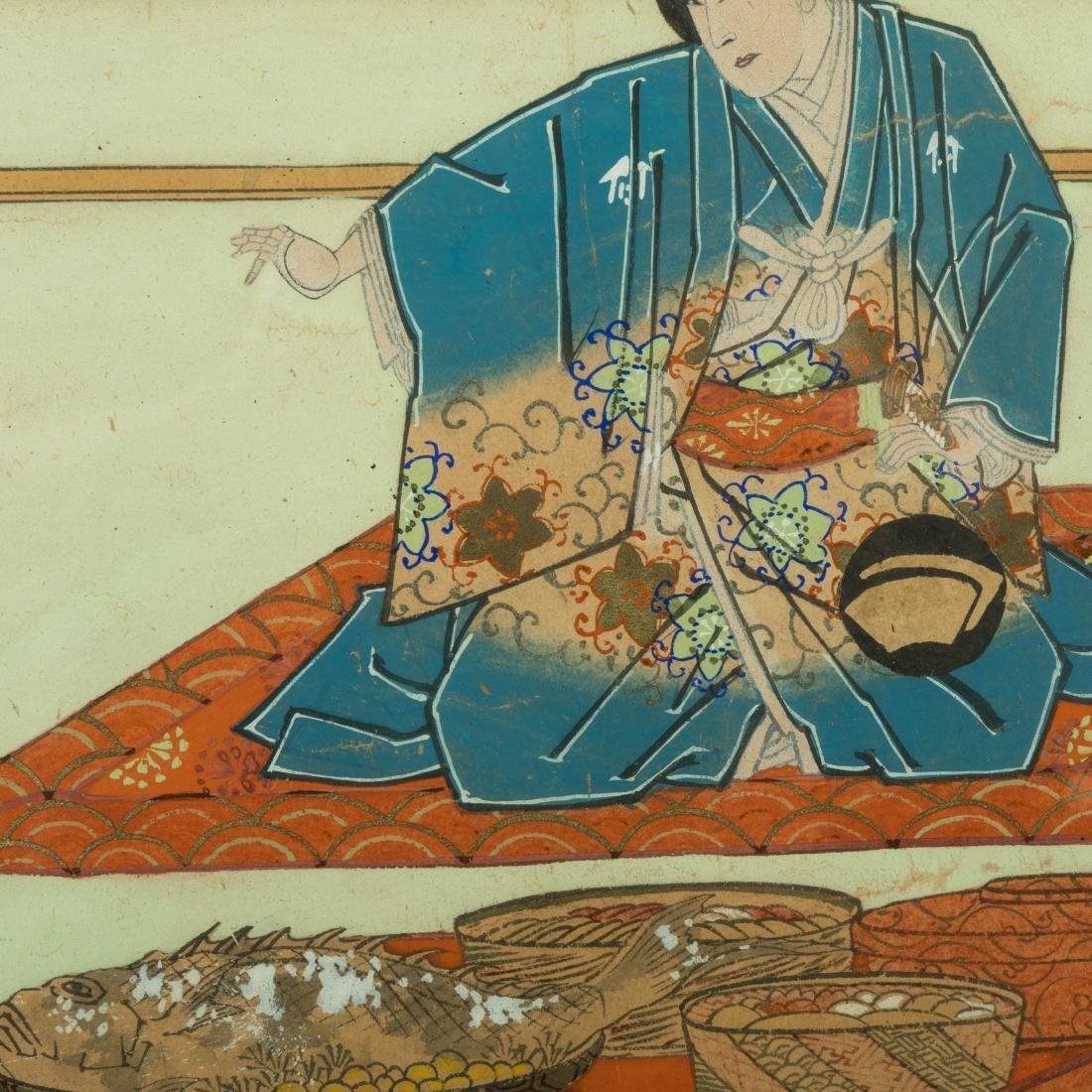 Large Japanese Gouache - Family Scene - 4