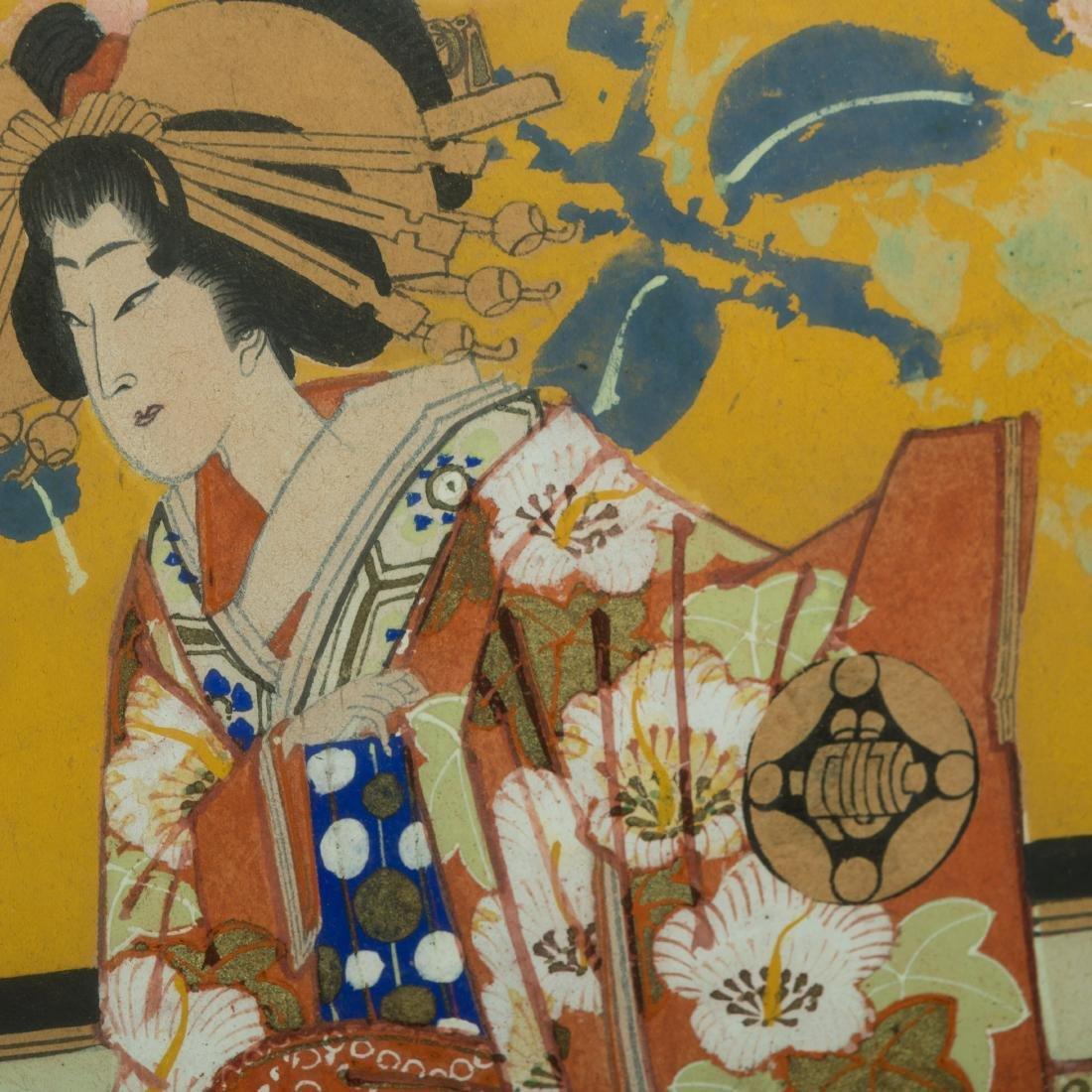 Large Japanese Gouache - Family Scene - 5