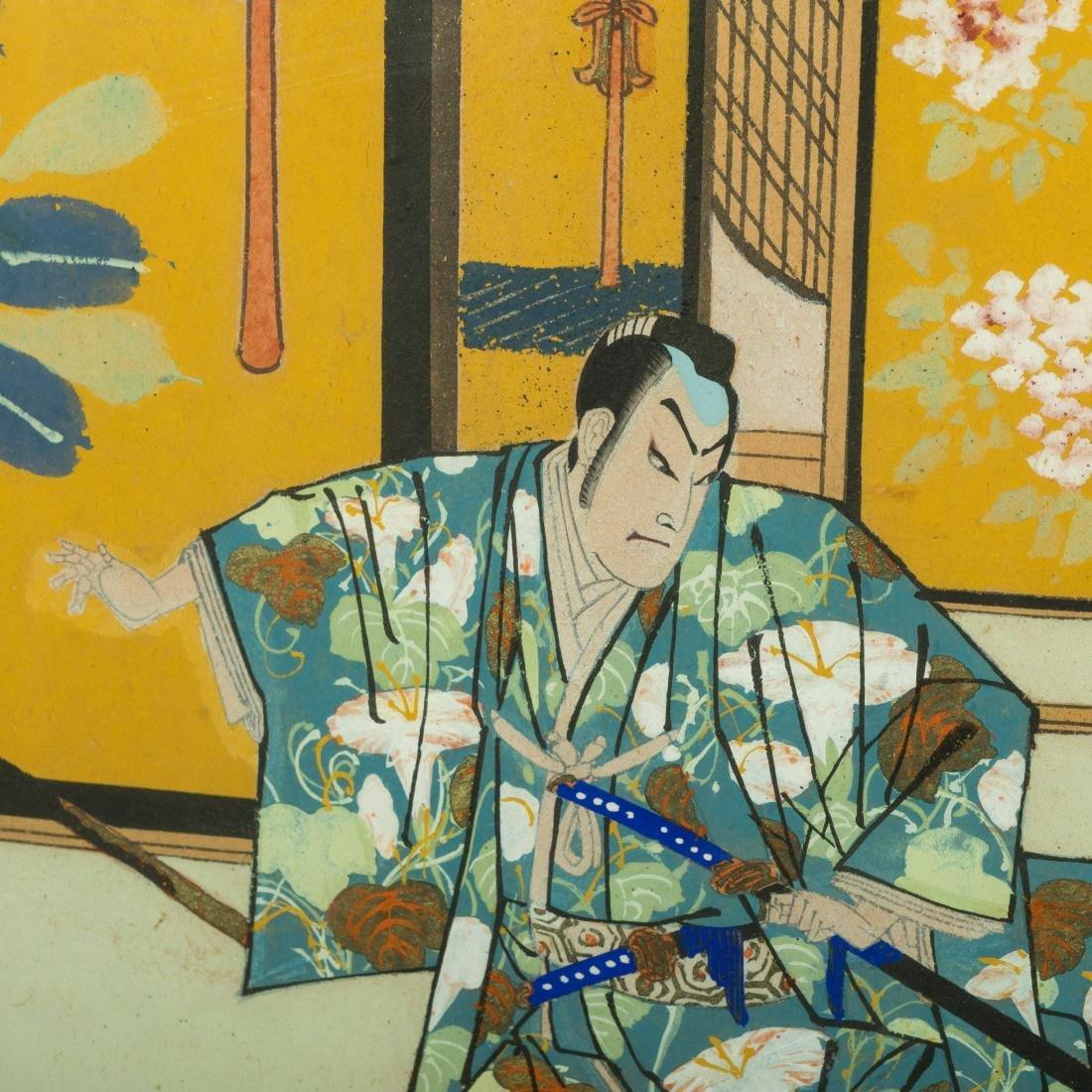 Large Japanese Gouache - Family Scene - 7