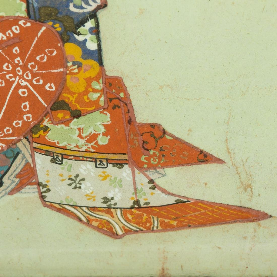 Large Japanese Gouache - Family Scene - 8