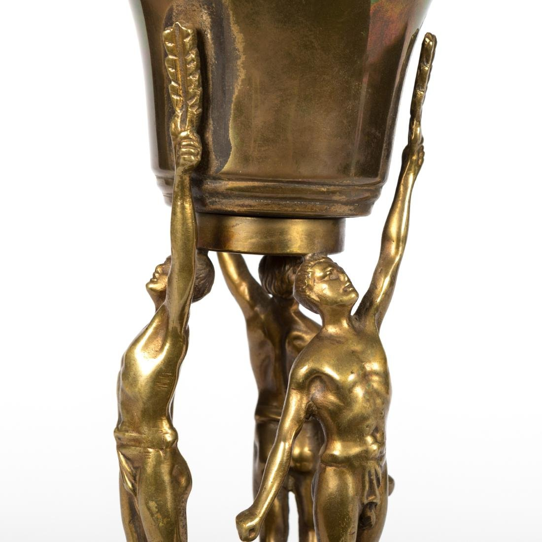 Figural Bronze Urn on Base - 2