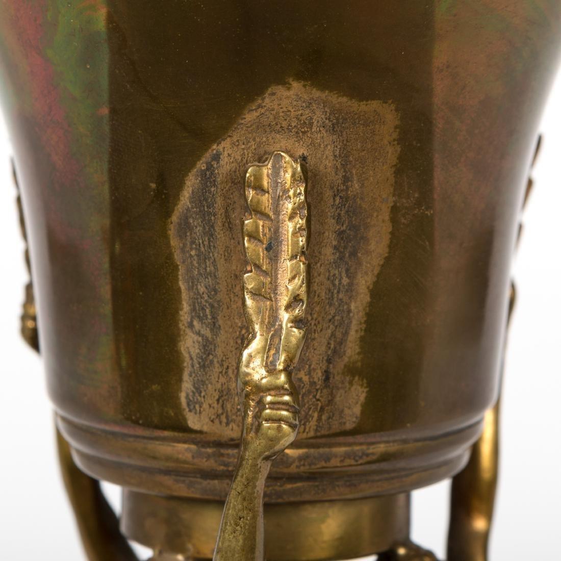 Figural Bronze Urn on Base - 5