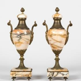 Pair Bronze and Marble Garnitures