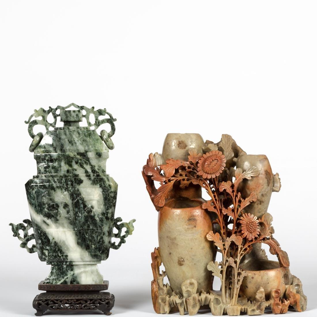 Jade Jar and Soapstone Vase