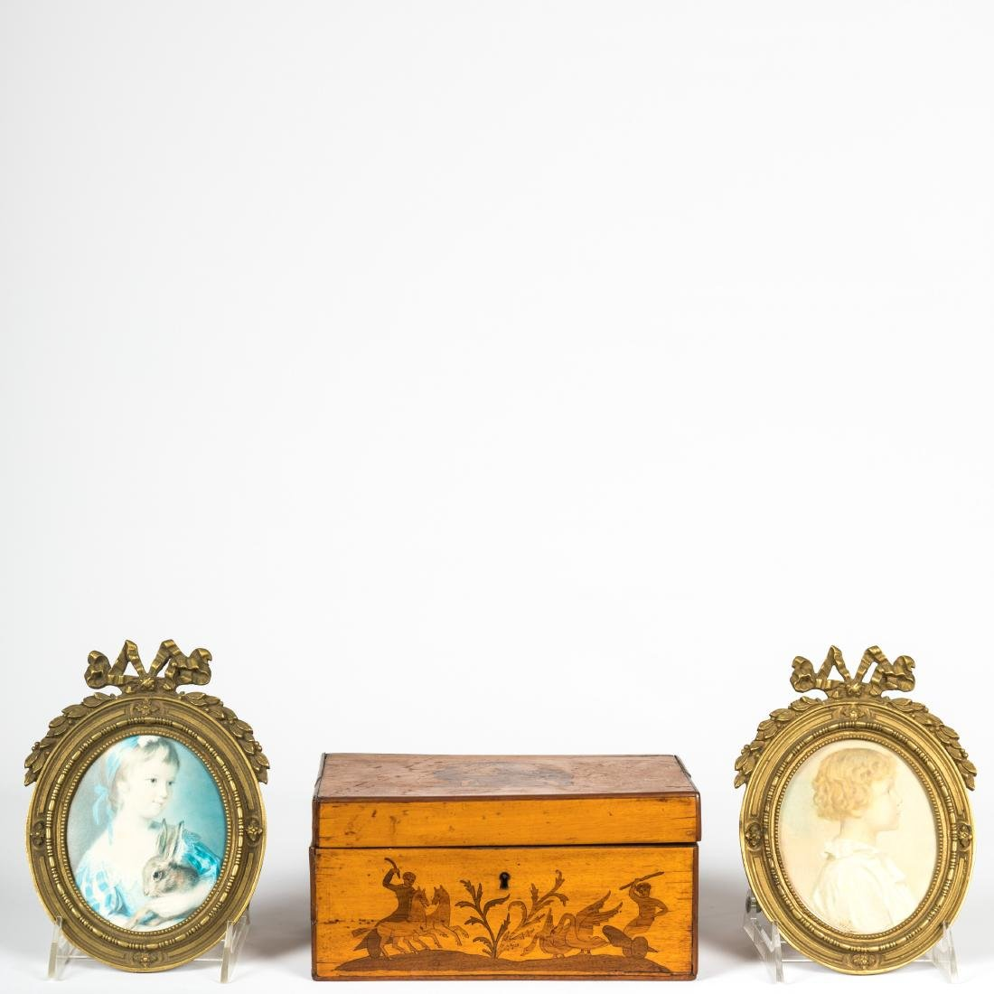 Pair Bronze Frames and Antique Box